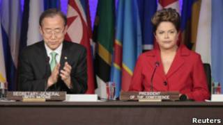 Ban Ki-moon (esq.) e Dilma Rousseff | Foto: Reuters