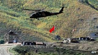 هلی کوپتر ارتش ترکیه در استان حکاکی