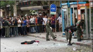 Cảnh sát Thái tại nơi xảy ra vụ nổ ở Bangkok