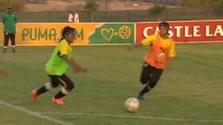 Des joueuses de l'équipe d'Afrique du Sud à l'entraînement