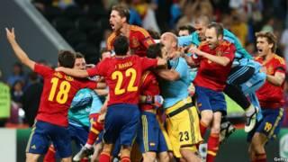 شادی تیم اسپانیا