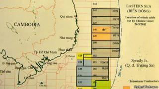 Bản đồ mời thầu các lô trên Biển Đông của Việt Nam