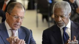 Lavrov e Annan no encontro em Genebra