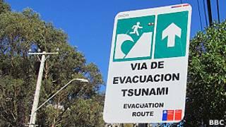 Aviso sobre tsunami no Chile | Crédito da foto: BBC