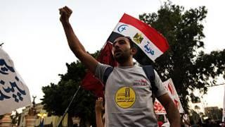 تظاهرة خارج القصر الرئاسي في القاهرة