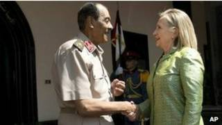 Hillary Clinton e marechal Tantawi