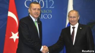 Владимир Путин и Реджеп Тайип Эрдоган на саммите G20 в Мексике 18 июня 2012 года
