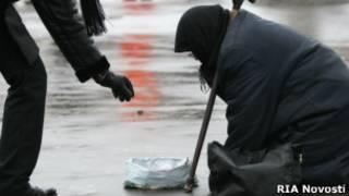 Нищая на московской улице