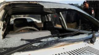 यूएन की गाड़ी पर हमला