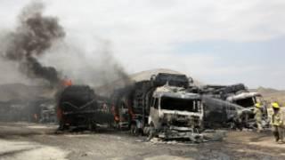 النيران تشتعل في ناقلات الناتو