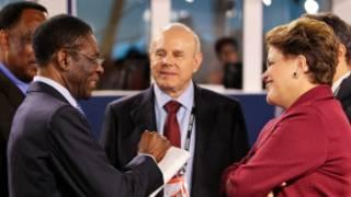 Teodoro Nguema, Guido Mantega and Dilma Rousseff  no G20 em Cannes, novembro de 2011 Foto Roberto Stuckert/Presidência da Repúblic