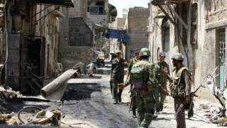 Tentara pemerintah Suriah di Midan, Damaskus.