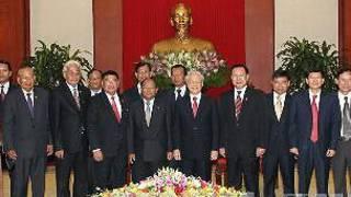 Tổng bí thư Nguyễn Phú Trọng tiếp Chủ tịch Quốc hội Heng Samrin