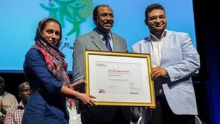 مراسم اهدای جایزه روبان قرمز به انجمن غیردولتی افرای سبز از ایران
