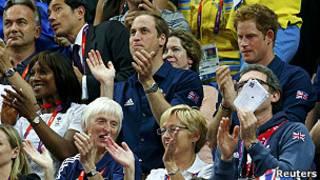 英國威廉和哈里王子為英國體操隊打氣