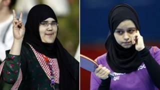 القطرية آية محمد (الى اليمين) والسعودية وجدان شهرخاني