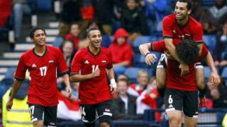 فرحة لاعبي مصر بالهدف الاول