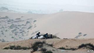 گروهی از نیروهای امنیتی مصر در صحرای سینا
