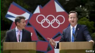 英國首相卡梅倫和倫敦奧組委主席科勛爵
