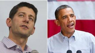 باراك أوباما والمرشح الجمهوري الجديد لمنصب نائب الرئيس بول ريا