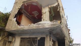 Разрушенное здание в Дамаске