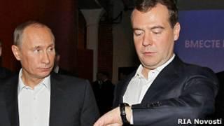 Путин и Медведев с часами