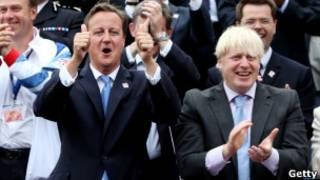 دیوید کامرون، نخست وزیر بریتانیا (سمت چپ) و بوریس جانسون، شهردار لندن