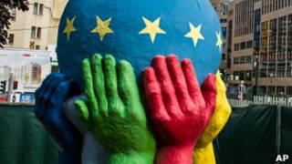 Globo con bandera de la eurozona