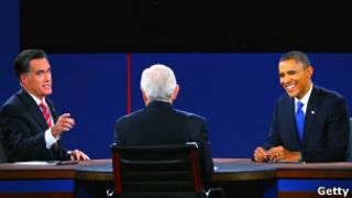 Барак Обама и Митт Ромни на дебатах 22 октября