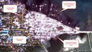 Спутниковая карта уничтоженного района Бирмы
