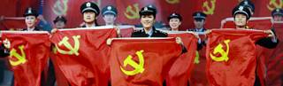 Funcionarios del gobierno chino en una fiesta de gala