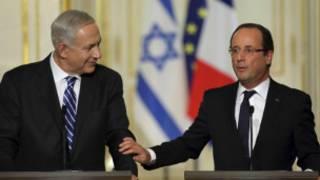De gauche à droite, Netanyahu et Hollande, le 31 octobre 2012 à Paris