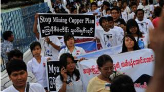 Protesters against Letpadaung Project