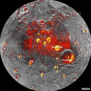 Карта Меркурия с данными о водяном льде