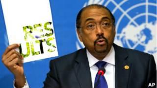 Глава UNAids Мишель Сидибе представляет результаты отчета