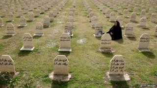 گور دستجمعی کسانی که در حمله شیمیایی به حلبچه کشته شدند
