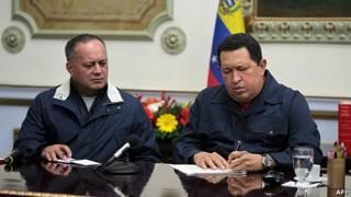 Diosdado Cabello y Hugo Chávez en Miraflores, Caracas, diciembre 2012