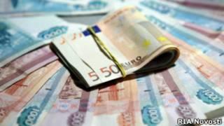 Российские рубли и евро
