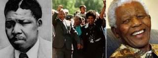 (بائیں) 1961 میں نیلسن منڈیلا (اے پی)، (درمیان) 1990 میں رہائی کے موقع پر اپنی بیوی کے ہمراہ (اے ایف پی)، (دائیں) 2007 میں نیلسن منڈیلا (اے پی)