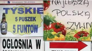 Cartel de una tienda en polaco
