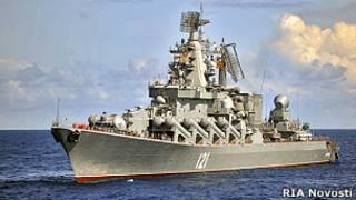 """Ракетный крейсер """"Москва"""" уже находится в Средиземном море"""