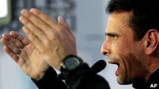 Henrique Capriles durante manifestación opositora en Caracas