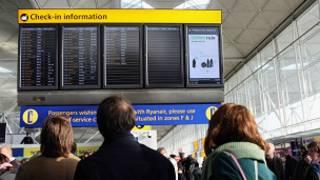 Panel de información en Stansted