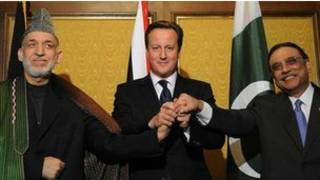 Hamid Karzai, da David Cameron, da Asif Ali Zardari