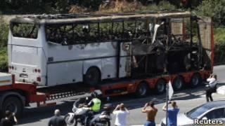 Взорванный автобус в Бургасе
