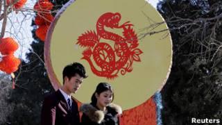 Китайский новогодний барабан с изображением дракона