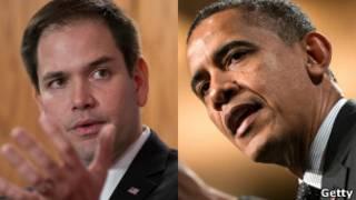 Marco Rubio y Barack Obama