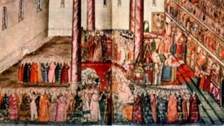Венчание Михаила Федоровича на царство в Успенском соборе Кремля