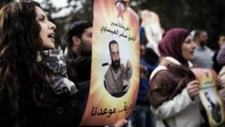 احتجاجات مساندة للسجناء الفلسطينيين