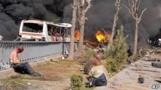 На месте взрыва в Дамаске